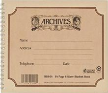 Archives 6 Stave 64 Page Spiral Dictation Book