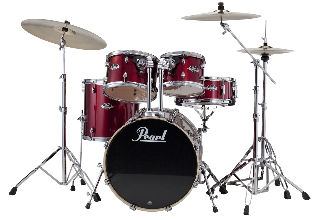 Pearl Export Five Piece Kit In Red Wine With  …