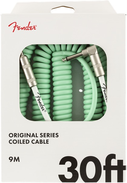 Fender 30 Foot Original Coil Cable In Surf Green