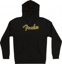 Fender Yellow Stitch Logo Black Hoodie In Large