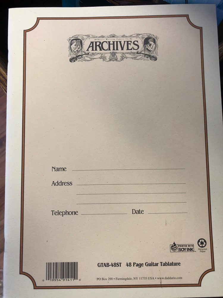 Archives Guitar Tab 48 Sheet Book
